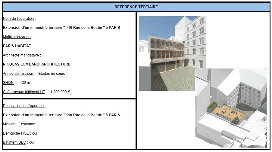 """Extension d'un immeuble tertiaire """"110 Rue de la Boetie"""" à PARIS"""